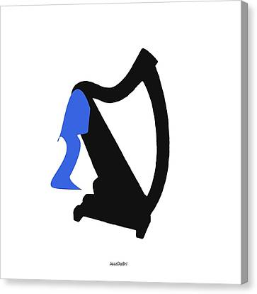 Harp In Blue Canvas Print by David Bridburg