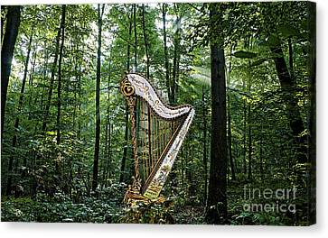 Harp Canvas Print - Harp In The Woods by Marvin Blaine