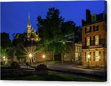Civil War Site Canvas Print - Harpers Ferry At Night by Robert Powell