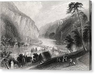 Harpers Ferry From The Potomac Side Canvas Print by Vintage Design Pics