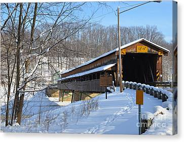 Harpersfield Covered  Bridge Ohio Canvas Print by Lila Fisher-Wenzel