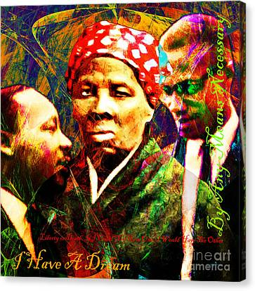 Harriet Tubman Martin Luther King Jr Malcolm X 20160421 Sq Text Canvas Print by Wingsdomain Art and Photography