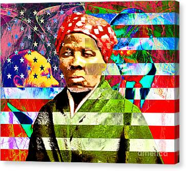 Harriet Tubman Martin Luther King Jr Malcolm X American Flag Canvas Print by Wingsdomain Art and Photography