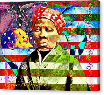 Harriet Tubman Martin Luther King Jr Malcolm X American Flag With Text Canvas Print by Wingsdomain Art and Photography