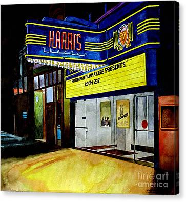 Liberty Avenue Canvas Print - Harris Theater Pittsburgh Pennsylvania by Christopher Shellhammer
