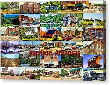 Harrison Arkansas Collage Canvas Print by Kathy Tarochione