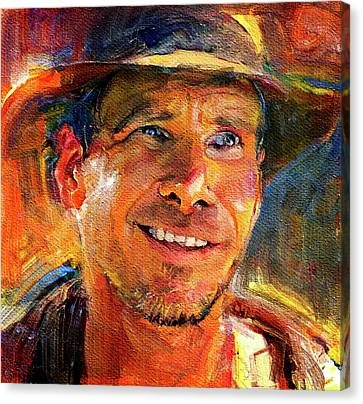 Indiana Landscapes Canvas Print - Harrison Ford Indiana Jones Portrait 3 by Yury Malkov