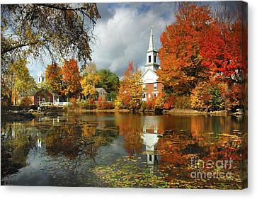 Harrisville New Hampshire - New England Fall Landscape White Steeple Canvas Print by Jon Holiday
