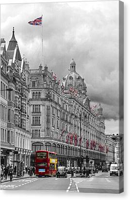 Harrods Of Knightsbridge Bw Hdr Canvas Print