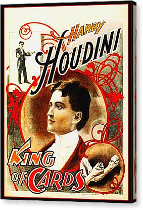 Harry Houdini - King Of Cards Canvas Print by Bill Cannon