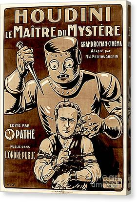 Marketing Stunt Canvas Print - Harry Houdini, Vintage Movie Poster For The Master Of Mystery Circa 1919 by French School