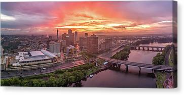 Hartford Ct Downtown Sunset Aerial Panorama Canvas Print