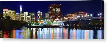 Hartford Night Lights Pano Canvas Print by Frozen in Time Fine Art Photography