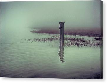 Harty Ferry In The Fog Canvas Print by Dave Godden