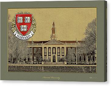 Harvard University Building Overlaid With 3d Coat Of Arms Canvas Print by Serge Averbukh