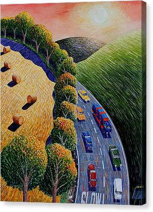 Harvest And Highway Canvas Print by Adrian Jones
