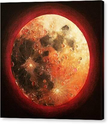 Harvest Full Moon Canvas Print by Shelley Irish