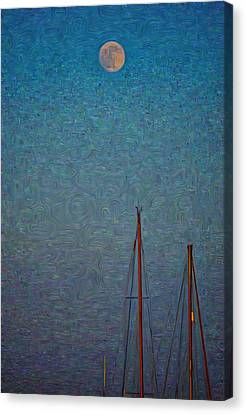Harvest Full Moon With Boat Masts Canvas Print by Jeffrey Canha