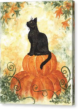 Harvest Kitty Canvas Print by Brandy Woods