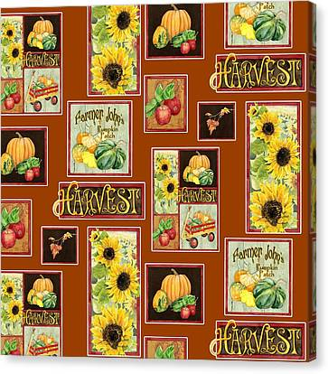 Harvest Market Pumpkins Sunflowers N Red Wagon Canvas Print by Audrey Jeanne Roberts