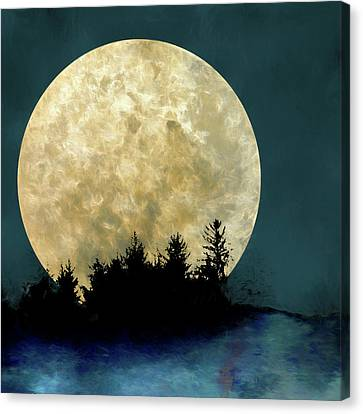 Harvest Moon And Tree Silhouettes Canvas Print