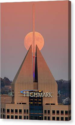Canvas Print featuring the photograph Harvest Moon In Pittsburgh  by Emmanuel Panagiotakis