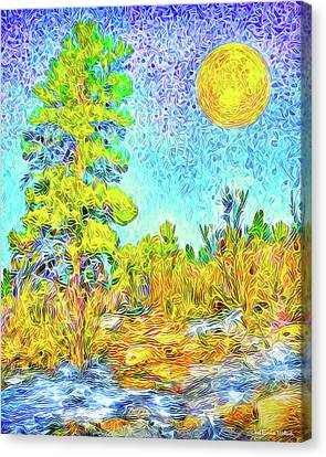 Canvas Print featuring the digital art Harvest Moon On Crystal Mountain - Boulder County Colorado by Joel Bruce Wallach