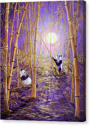 Harvest Moon Pandas  Canvas Print by Laura Iverson
