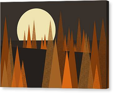 Fall Landscape Canvas Print - Harvest Moon by Val Arie