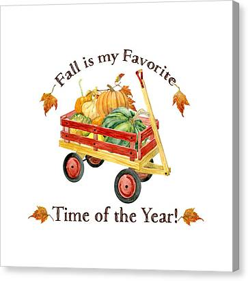Harvest Red Wagon Pumpkins N Leaves Canvas Print by Audrey Jeanne Roberts