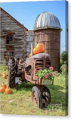 Farming Barns Canvas Print - Harvest Time Vintage Farm With Pumpkins by Edward Fielding