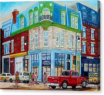 Harry Toulch Optometrist Heritage Montreal Landmark Rue St Laurent Street Scene Canadian Art        Canvas Print by Carole Spandau