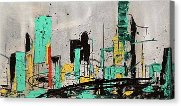 Canvas Print featuring the painting Hashtag City by Carmen Guedez