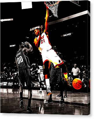 Dwyane Wade Canvas Print - Hassan Whiteside by Brian Reaves