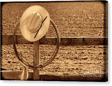 Hat And Lasso On A Fence Canvas Print by American West Legend By Olivier Le Queinec