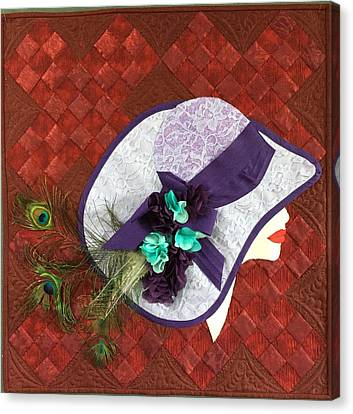 Canvas Print featuring the tapestry - textile Hat Trick by Jo Baner