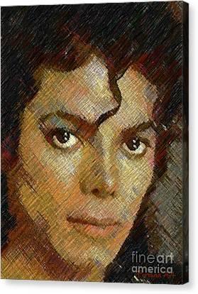 Hatched Portrait Of Michael Jackson Canvas Print