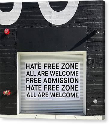 Hate Free Zone Canvas Print by Julie Gebhardt