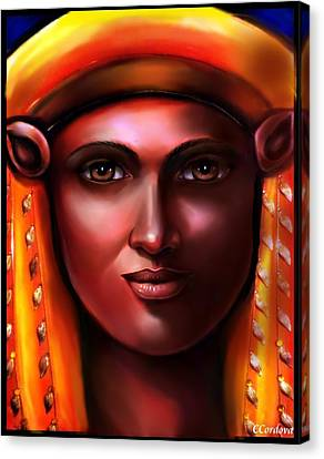 Hathor -egyptian Goddess Canvas Print by Carmen Cordova