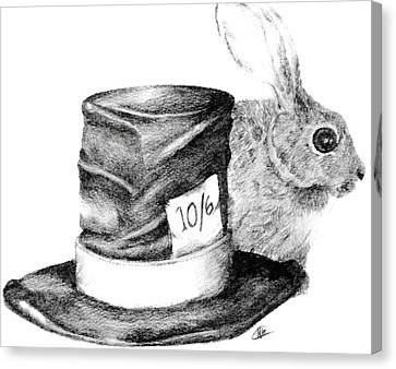 Canvas Print featuring the drawing Hatter And The Hare by Meagan  Visser