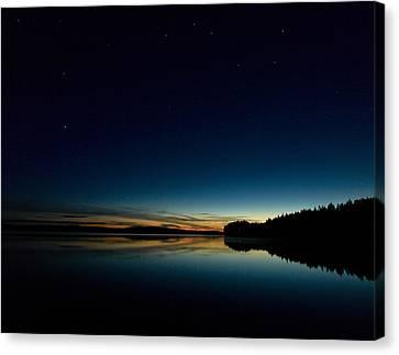 Canvas Print featuring the photograph Haukkajarvi By Night With Ursa Major 1 by Jouko Lehto