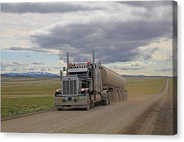 Haul Rd Trucker Canvas Print by Sam Amato