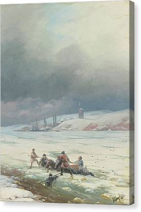 Horse And Cart Canvas Print - Hauling A Horse And Cart Out Of Ice by MotionAge Designs