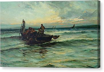 Hauling In The Nets At Sunset Canvas Print by Colin Hunter
