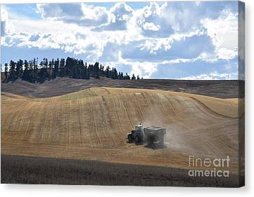 Hauling The Harvest From The Fields. Canvas Print