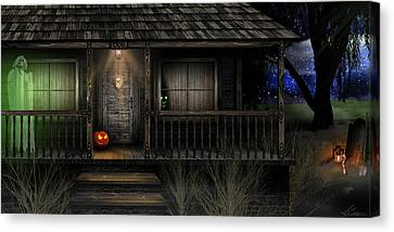 Canvas Print featuring the digital art Haunted Halloween 2016 by Anthony Citro