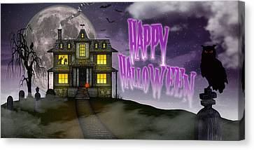 Canvas Print featuring the digital art Haunted Halloween by Anthony Citro