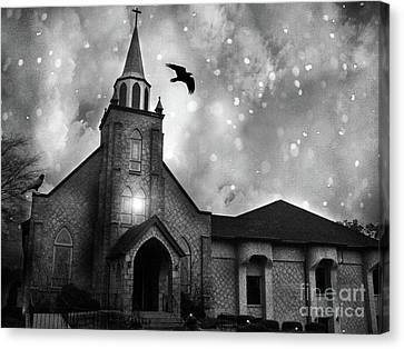 Ravens With Church Canvas Print - Haunting Spooky Gothic Black And White Church With Ravens Crows by Kathy Fornal