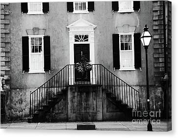 Haunting Surreal Black And White Charleston South Carolina French Quarter Architecture Windows Door Canvas Print by Kathy Fornal