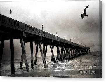 Haunting Surreal Spooky Wrightsville Beach Ocean Pier Bridge With Raven Black And White Print Decor Canvas Print by Kathy Fornal